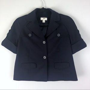 LOFT Navy Short Sleeve Boxy Military Blazer